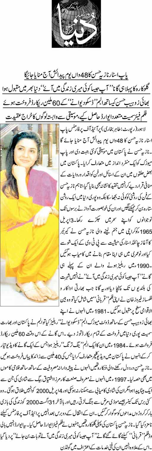 268280 15910084 - Nazia Hassan Birthday