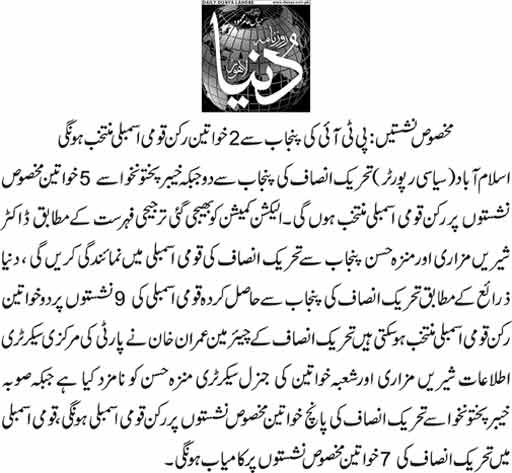 PTI will get 7 women reserved seats in National Assembly