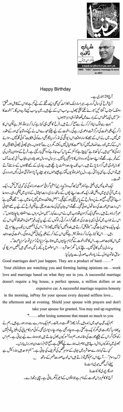 Happy Birthday | Dr. Amjad Saqib | Daily Urdu Columns